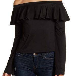 NWT Black Long Sleeve Off-Shoulder Ruffle Blouse